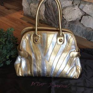 BETSEY JOHNSON Gold/Silver Leather Satchel EUC!